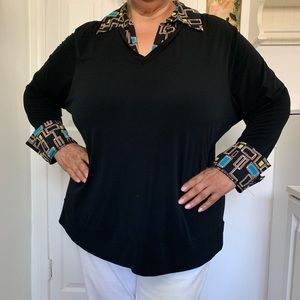 Black Long Sleeve Collared Shirt